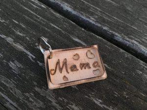 Schlüsselanhänger Muttertag aus Buche