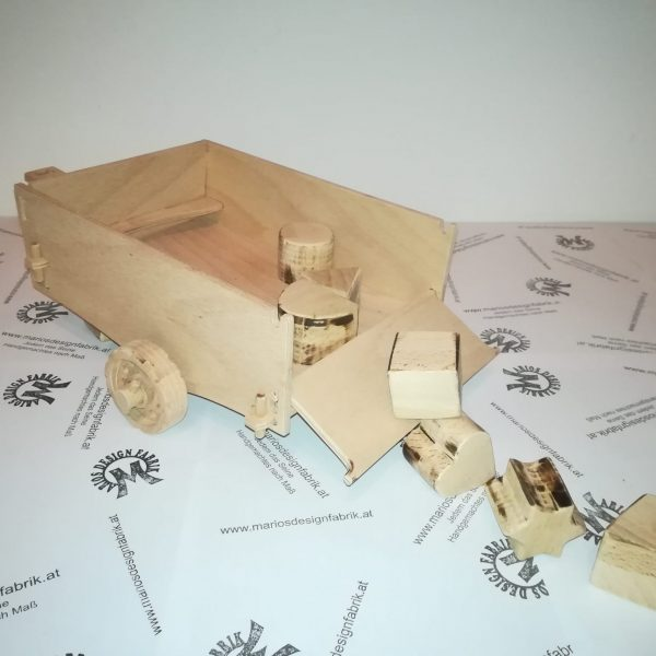 Anhänger für Motorikspiel für Kleinkinder Design Fahrzeug Jeep aus Holz Buche