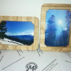 Bilderrahmen graviert Motiv Muttertag Designs sortiert aus Holz Buche