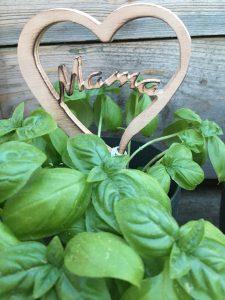 Blumenstecker Muttertag für Topfpflanzen Design Herz aus Holz Buche