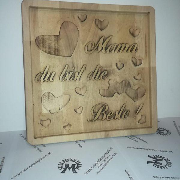 Dekoschild Wandbild Motiv Muttertag aus Holz Buche