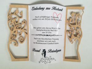 Einladung festlich Hochzeit klappbar mit Fotopapier bedruckt aus Holz Buche