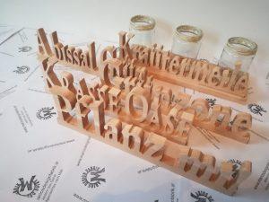 Fensterbankdeko Kräutergarten 3 Gläser mit Schriftzug Motive sortiert aus Holz Buche