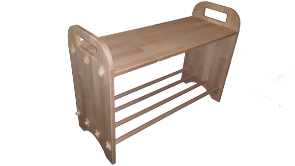 Garderoben-Sitzbank Schuhbank mit Schuhablage aus Holz Buche