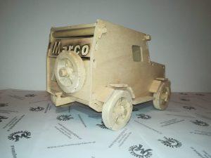 Motorikspiel für Kleinkinder Design Fahrzeug Jeep mit Zubehör aus Holz Buche