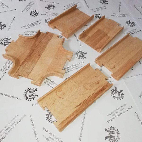Straßenbausatz Straßenset Zusatzpaket 5-teilig Kreuzung 2 Rampen 2 Geraden aus Holz Buche