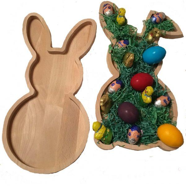 Tischdeko Dekoteller Osternest Design Osterhase aus Holz Buche