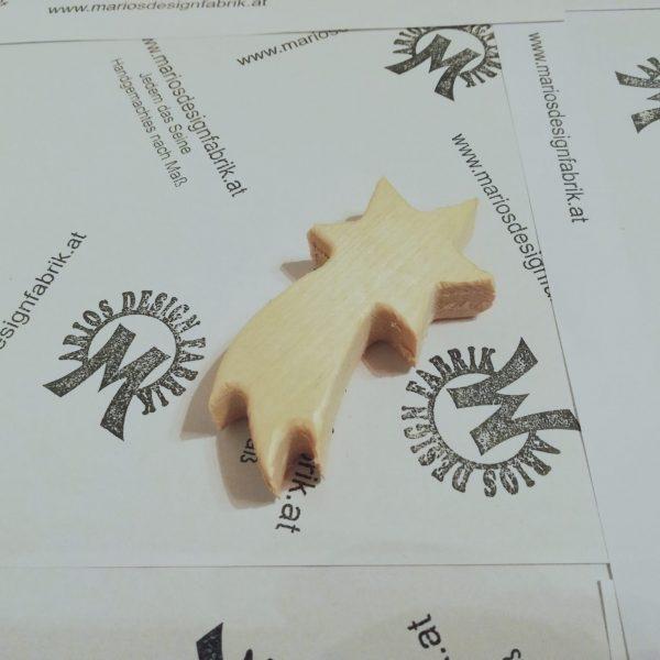 Dekostern kleiner Komet Doppelpack aus Holz Buche oder Zirbe