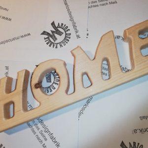 Dekobuchstaben Schriftzug Home aus Holz Buche oder Zirbe