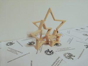 Dekosterne 3in1 3 Sterne Größen sortiert aus Holz Buche oder Zirbe