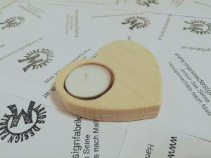 Teelichthalter Tischdeko Herz aus Holz Buche oder Zirbe