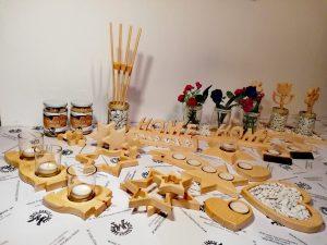 Teelichthalter Tischdeko Holzpuzzle aus Holz Buche oder Zirbe mit Teelichtglas