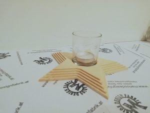 Teelichthalter Tischdeko Stern mit 5 Stufen aus Holz Buche oder Zirbe