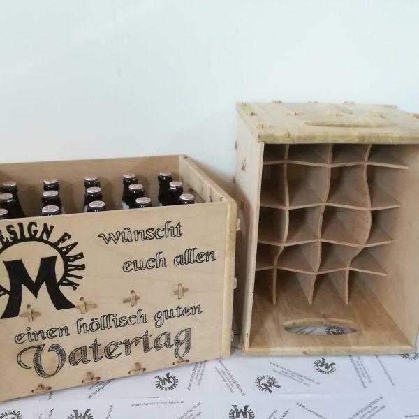 Bierkiste Bierkasten für 20 Bierflaschen stapelbar Motiv personalisiert aus Holz Buche