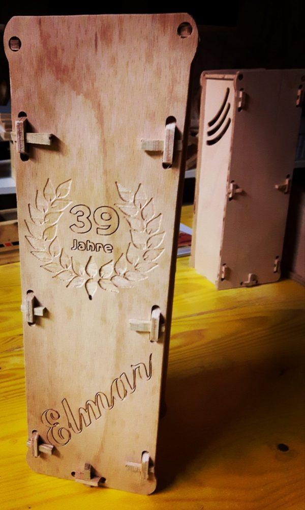 Weintragerl 1er Träger für Weinflasche Spirituosen aus Holz Buche