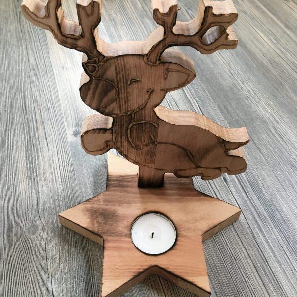Teelichthalter Tischdeko Weihnachten Design Rentier aus Holz Buche