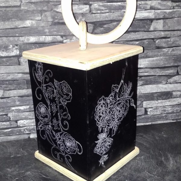 Laterne Deko Motiv Blumen romantisch aus Holz Fichte Kunststoff mit LED Kerze und Tragegriff