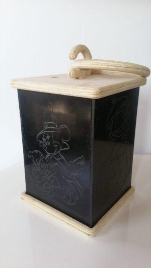 Laterne Deko Motiv gruselig Halloween Kürbis aus Holz Fichte Kunststoff mit LED Kerze und Tragegriff