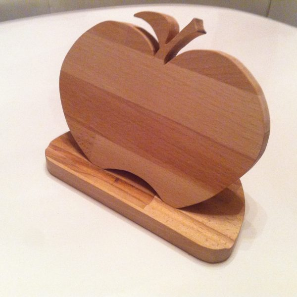 Tabletständer Halterung Stütze für Tablet Handy Portable Motiv Apfel aus Holz Buche