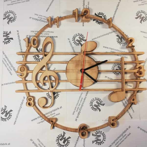 Wanduhr Motiv Musik Notenschlüssel aus Holz Buche