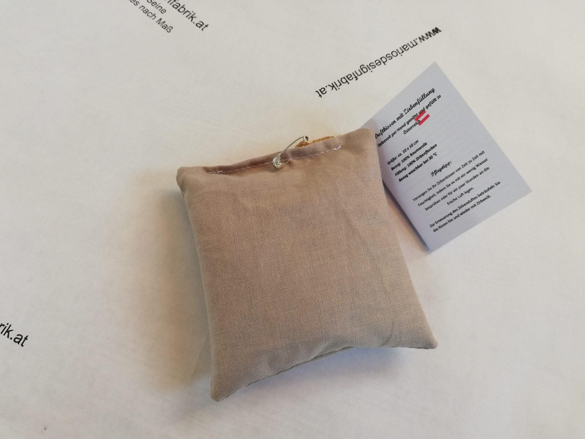 Zirbenduftkissen Duftkissen Duftsäckchen 10×10 cm Füllung aus Zirbenspänen