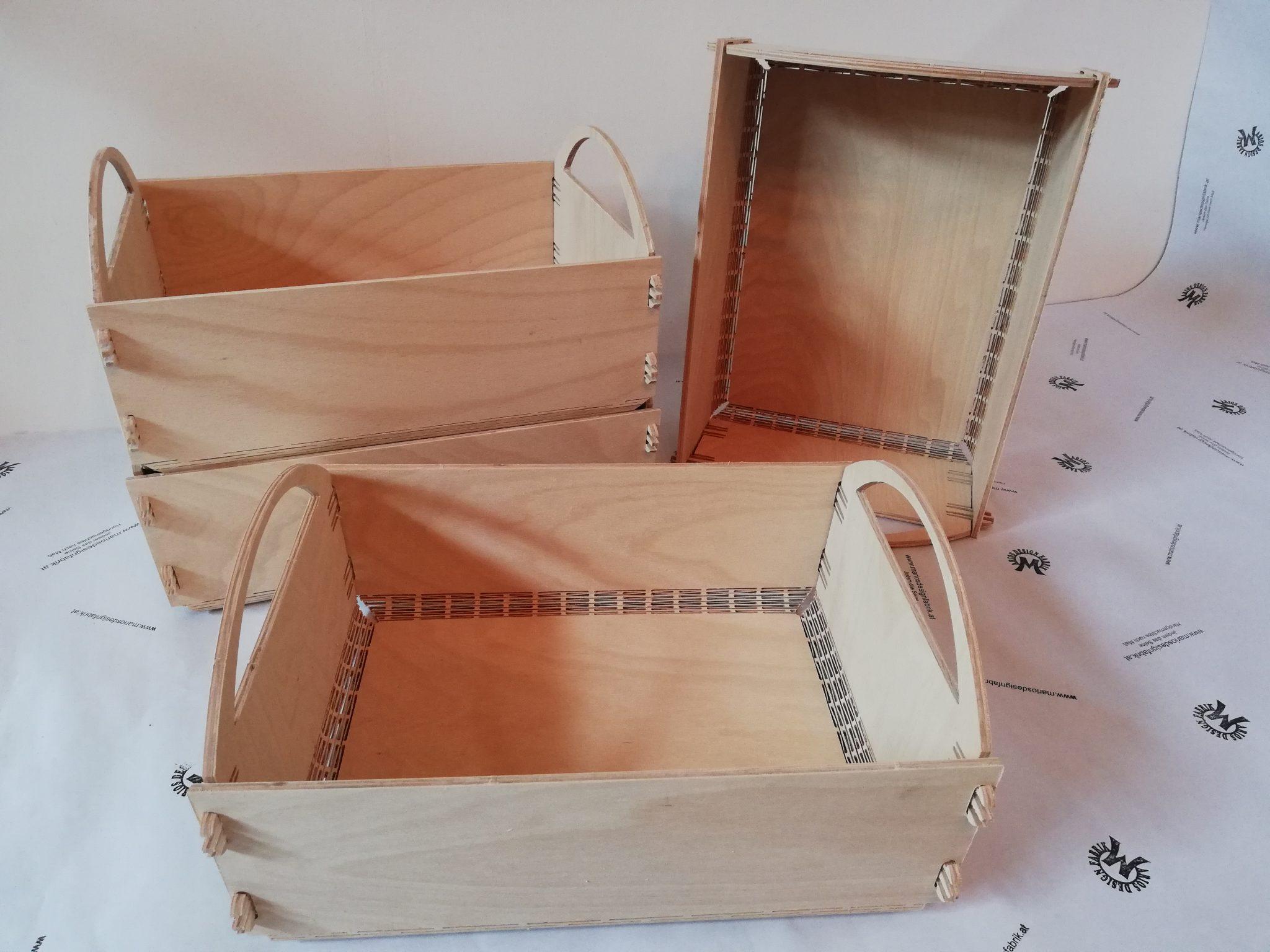 Klappbox Kiste Aufbewahrungsbox klappbar 40x30x15 cm aus Holz Buche