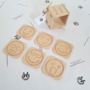 Untersetzer für Getränke Set 6-teilig Design Emoji lustige Smileys mit Schatulle aus Holz Buche