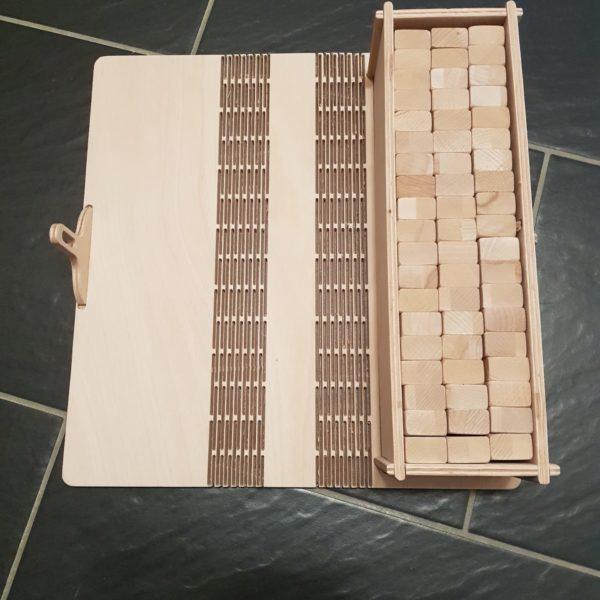Jengaspiel Gesellschaftsspiel mit Schatulle aus Holz Buche