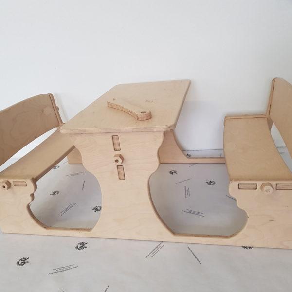 Kindersitzgruppe Sitzkombination Essbänkchen mit Tisch aus Holz Buche